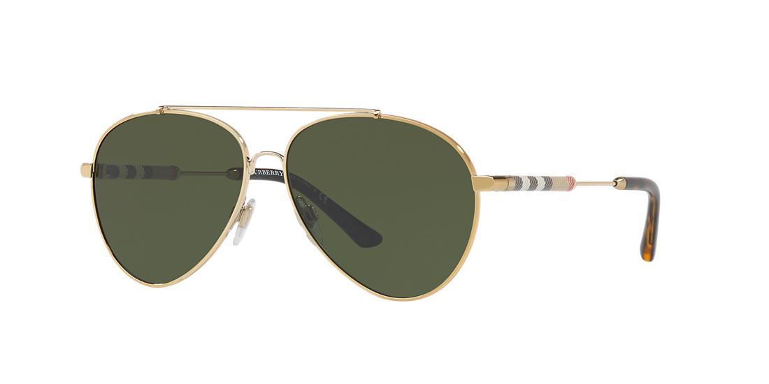 Image of Burberry Be3092qf Gold Pilot Sunglasses 8053672775075