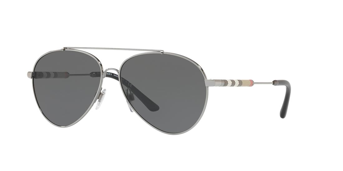 Image of Burberry Be3092qf Silver Pilot Sunglasses 8053672775082