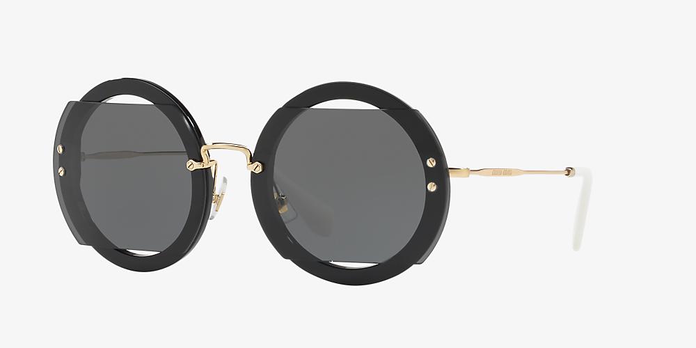 2edb51a366f6 Miu Miu MU 06SS 63 Grey-Black & Black Sunglasses | Sunglass Hut USA