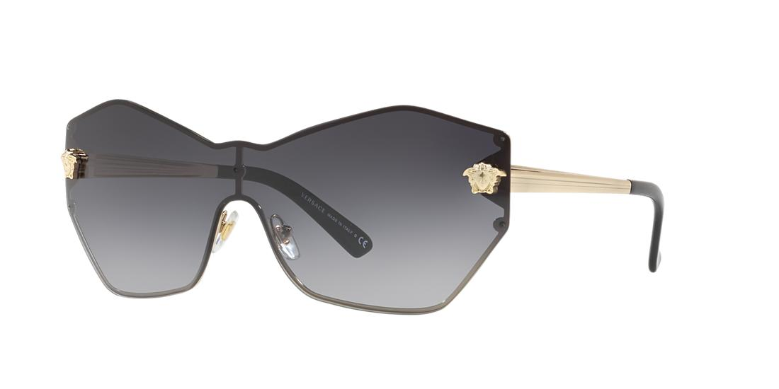 Versace Rimless Shield Medusa Head Sunglasses In Blue