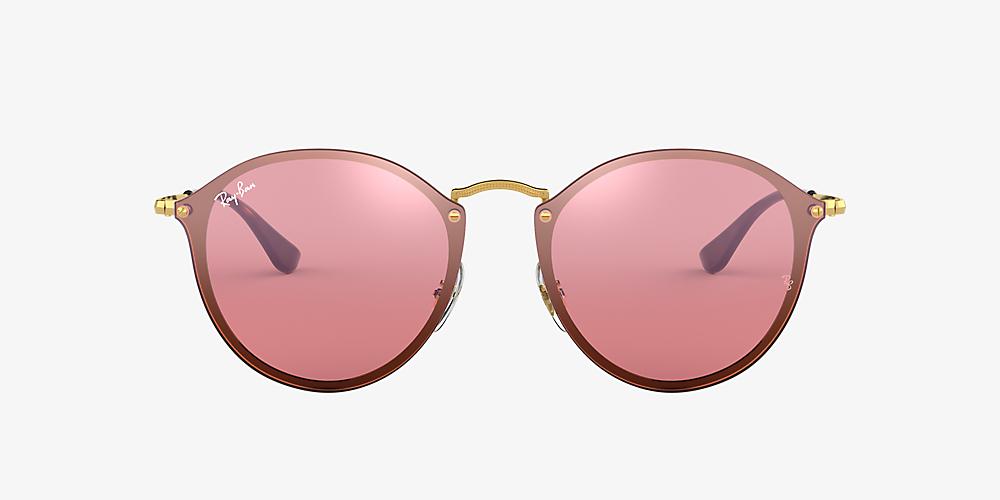 19690db017dc Ray-Ban RB3574N BLAZE ROUND FLAT LENS 59 Pink & Gold Sunglasses ...