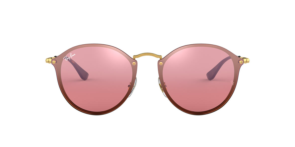 Ray-Ban RB3574N BLAZE ROUND FLAT LENS 59 Pink Mirror   Gold ... 12e981c665