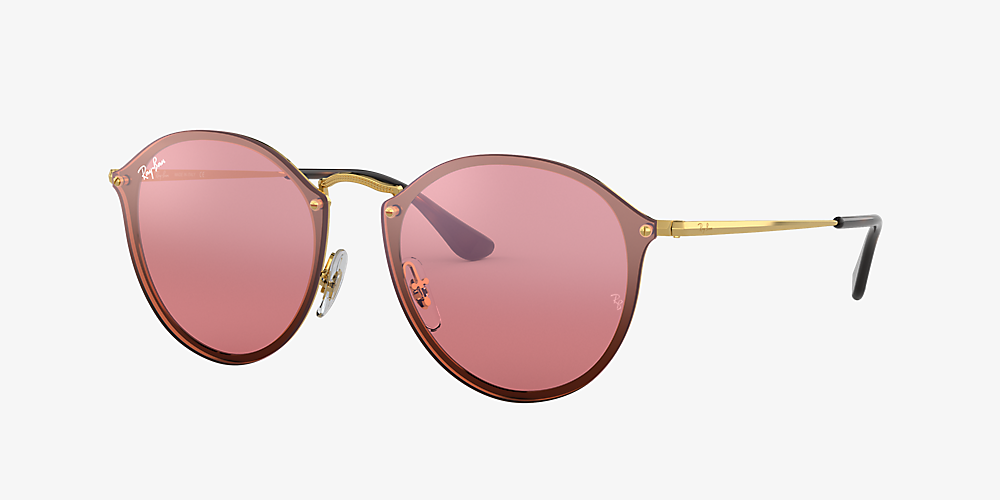 a43c9c8ce Ray-Ban RB3574N BLAZE ROUND FLAT LENS 59 Pink & Gold Sunglasses ...