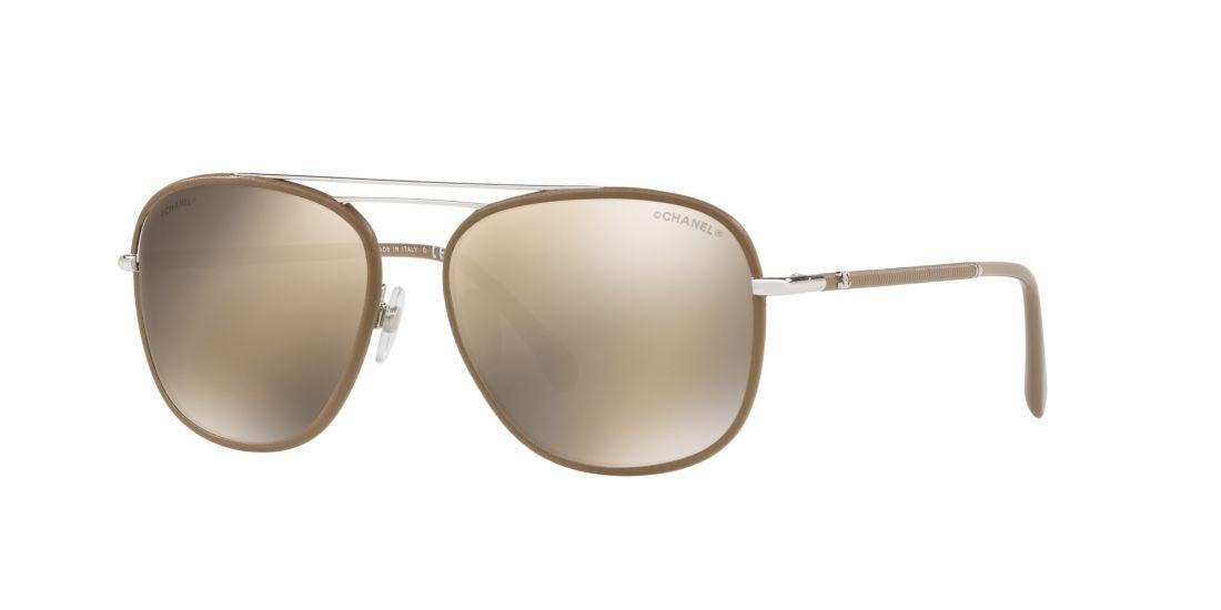 CHANEL Pilot Sunglasses 55 Gold & Taupe Sunglasses   Sunglass Hut ...