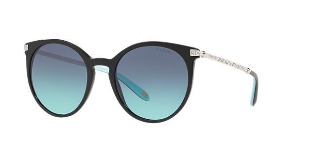 54Mm Gradient Round Sunglasses - Black/ Blue Gradient