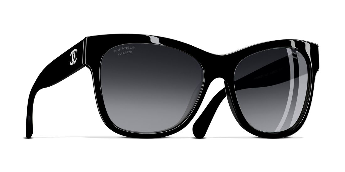CHANEL Square Sunglasses 56 Gray & Black Polarised Sunglasses ...