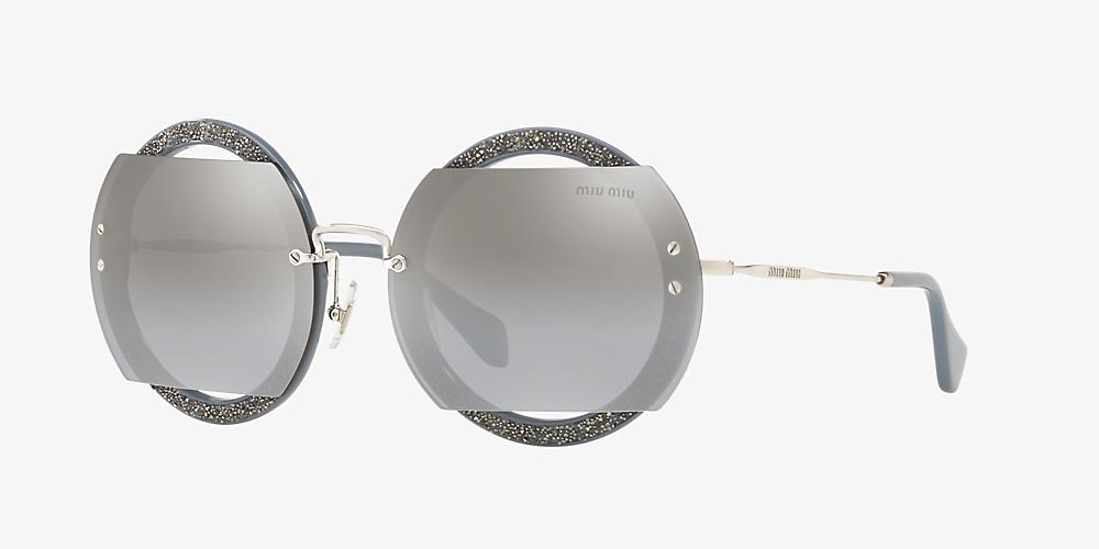 f0bfe63b7775 Miu Miu MU 06SS 63 Silver & Grey Sunglasses | Sunglass Hut USA