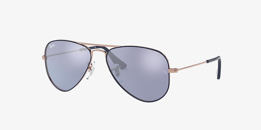 c511f9d07 Ray-Ban RJ9506S 50 Dark Violet/Silver Mirror & Blue Sunglasses ...
