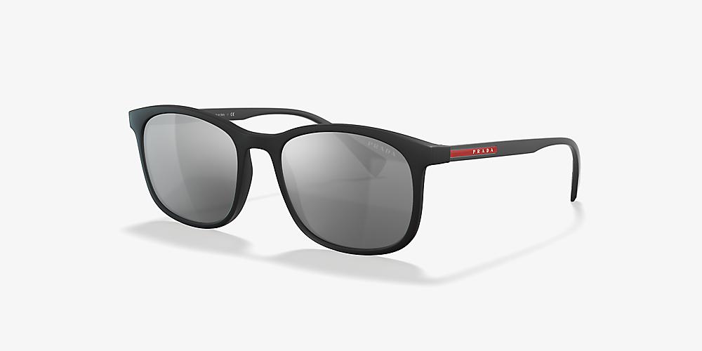 0039949e5 Prada Linea Rossa PS 01TS 56 Silver & Black Sunglasses   Sunglass ...
