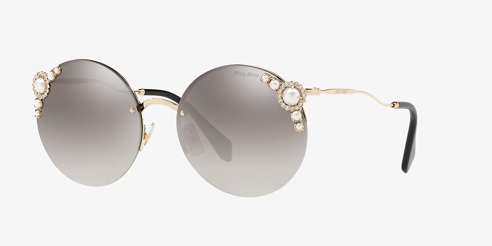 420eed26a4e2 Miu Miu MU 52TS 60 Grey-Black & Gold Sunglasses | Sunglass Hut Canada