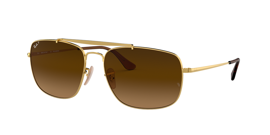 4bc9a7ad06 Ray-Ban RB3560 61 Polarized Brown Gradient   Gold Polarized ...