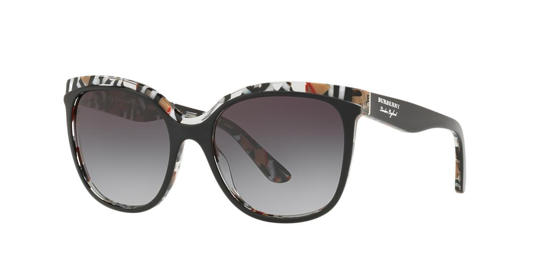 Burberry Gradient Butterfly Sunglasses W/ Check Print Trim In Top Black Gradient