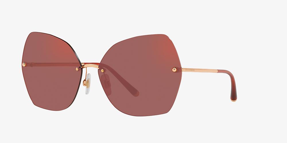 73c9d48651ff Dolce & Gabbana DG2204 64 Red & Rose Gold Sunglasses | Sunglass Hut USA