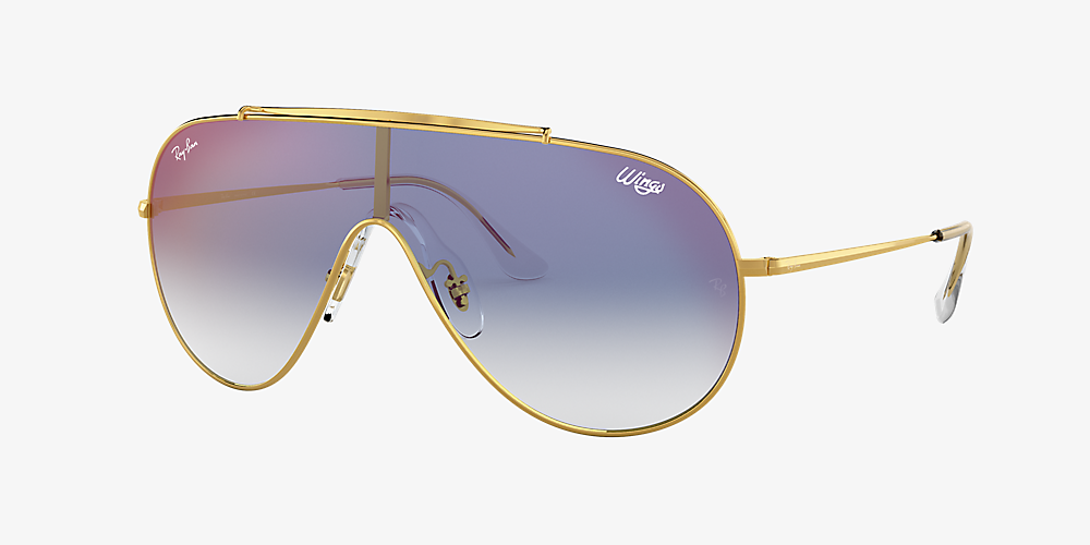 3e2b53d0d102 Ray-Ban RB3597 WINGS 01 Blue Gradient Mirror & Gold Sunglasses ...