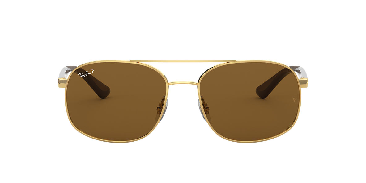 2379ee4ee3b1f RAY-BAN Gold RB3593 Polarized Brown Classic B-15 polarised lenses 58mm