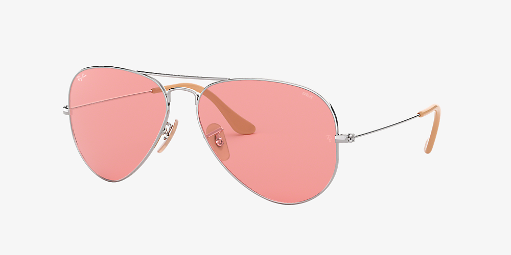 994e471eb Ray-Ban RB3025 AVIATOR EVOLVE 58 Pink & Silver Sunglasses | Sunglass ...