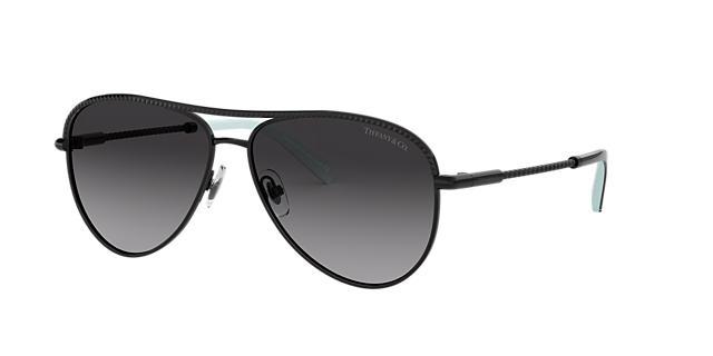 Tiffany &Amp; Co. 57 Black Pilot Sunglasses - Tf3062 in Black Frames/Grey Lenses