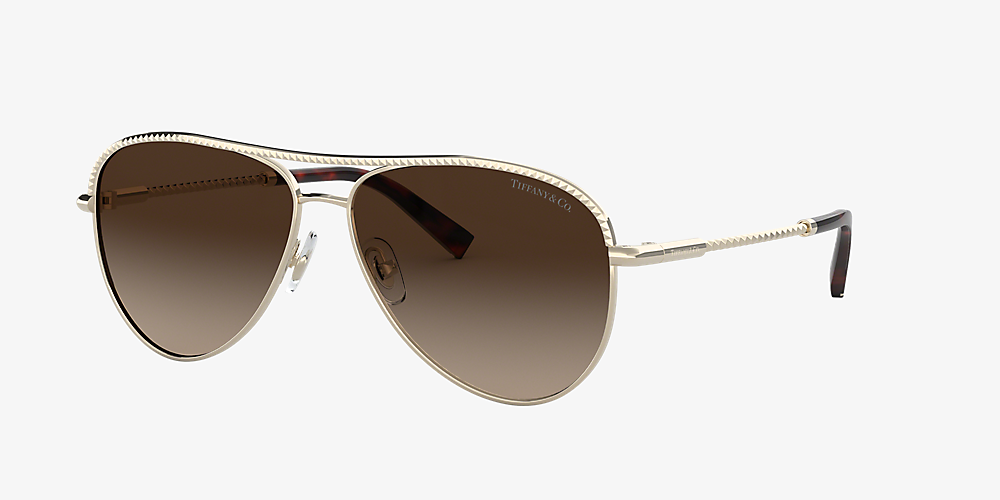 e887d645ebcf Tiffany TF3062 Tiffany Diamond Point 57 Brown & Gold Sunglasses ...