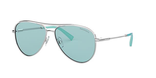 Tiffany &Amp; Co. 57 Silver Pilot Sunglasses - Tf3062 in Silver Frames/Blue Lenses