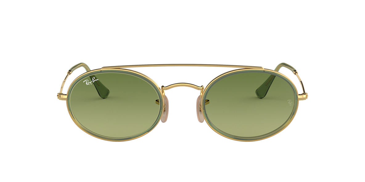 Gold RB3847N OVAL DOUBLE BRIDGE Green  52