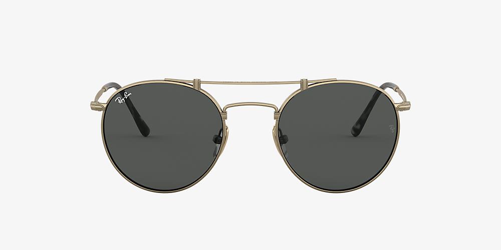 814f3f344 Ray-Ban RB8147 ROUND TITANIUM 50 Grey-Black & Gold Sunglasses ...
