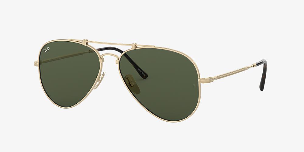 6642038d3 Ray-Ban RB8125 AVIATOR TITANIUM 58 Green & Silver Sunglasses ...