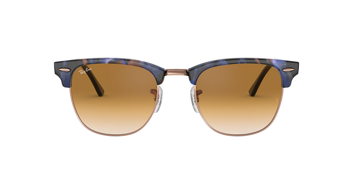 Spotted Brown and Blue RB3016F CLUBMASTER FLECK Light Brown Gradient  55