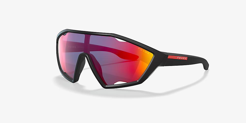 0a9a7aae1 Prada Linea Rossa PS 10US 01 Blue & Black Sunglasses | Sunglass Hut ...