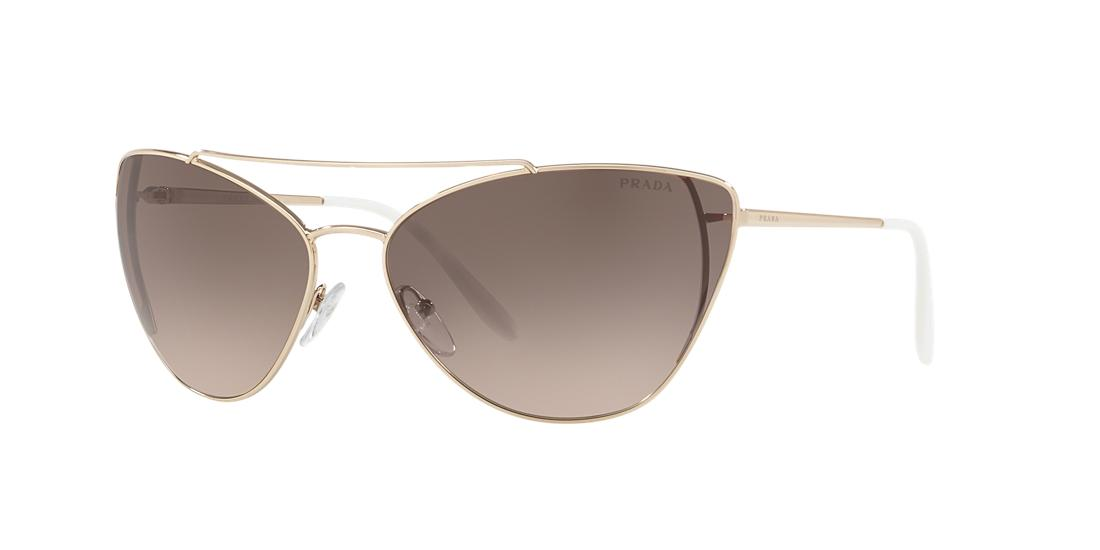Prada Women's Brow Bar Cat Eye Sunglasses, 68mm In Pale Gold/light Brown Gradient