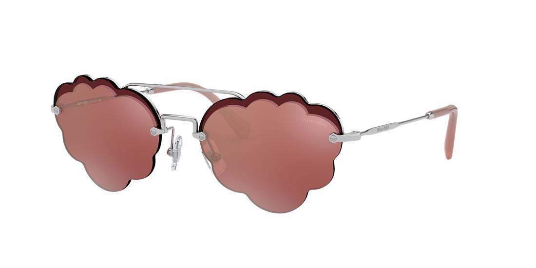 766e8a484 Miu Miu Women's Brow Bar Scalloped Round Sunglasses, 55Mm In Silver/Pink  Mirror Flash