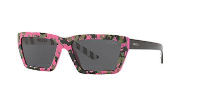 6eb36ba233 Prada PR 04VS 57 Grey-Black & Rose Lunettes de soleil | Sunglass Hut ...