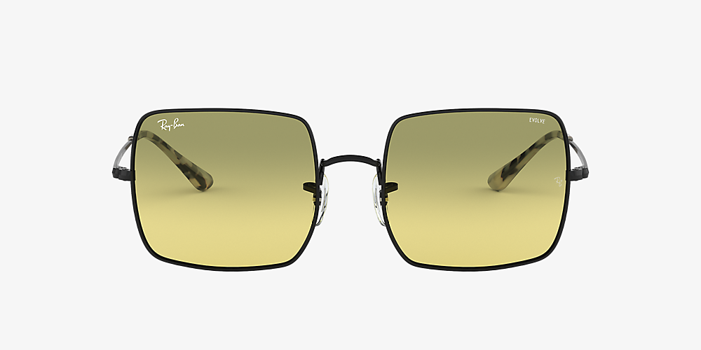 ray ban aviator black frame yellow lens
