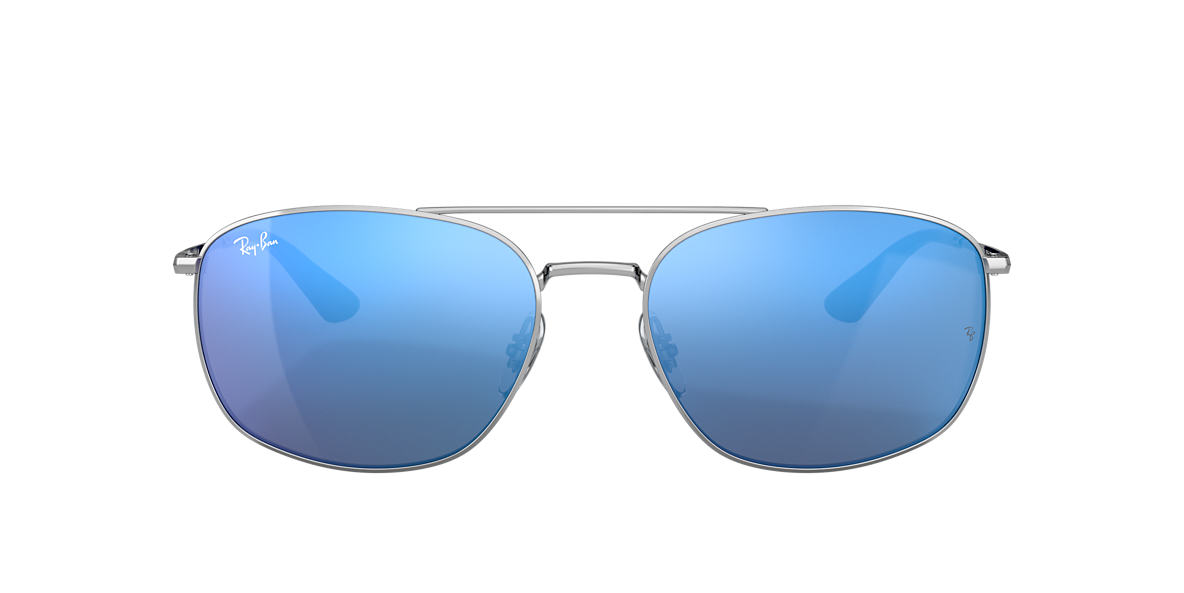 Silver RB3654 Blue Mirror  60