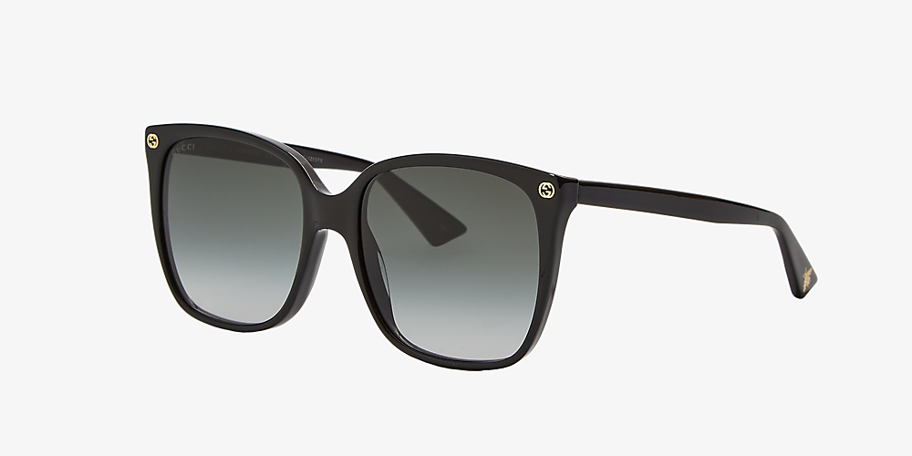 93efd7765f22 Gucci GG0022S 57 Grey-Black & Black Sunglasses | Sunglass Hut United ...