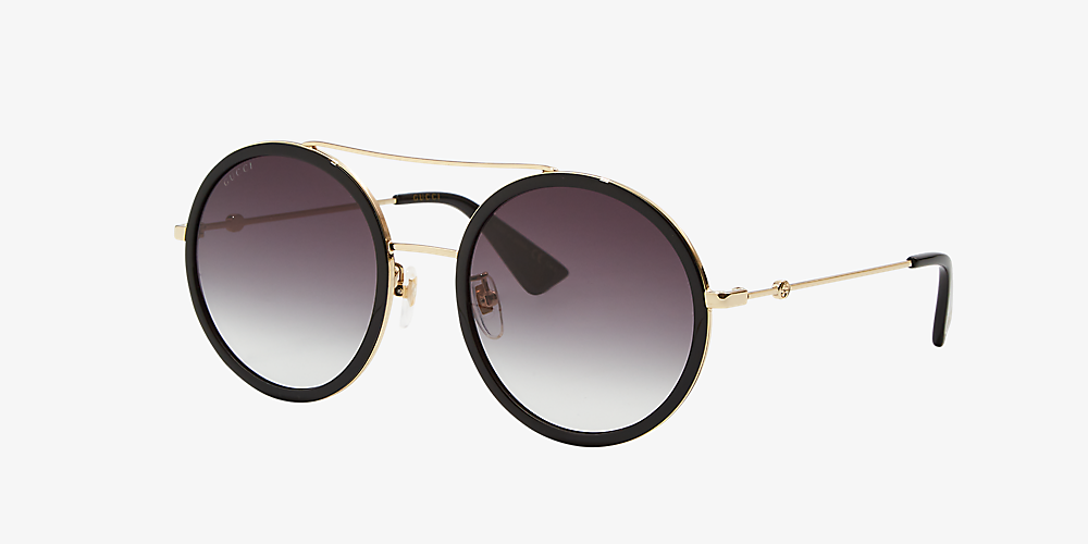 99567fdab7 Gucci GG0061S 56 Grey-Black & Gold Sunglasses | Sunglass Hut USA