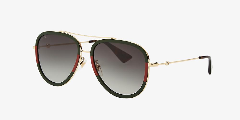 87cf9ab98 Gucci GG0062S 57 Green & Gold Polarized Sunglasses | Sunglass Hut USA