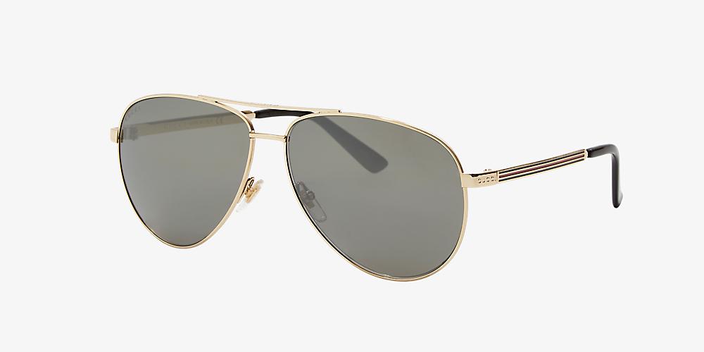 eb9f7cf92371 Gucci GG0137S 61 Grey-Black & Gold Sunglasses | Sunglass Hut USA