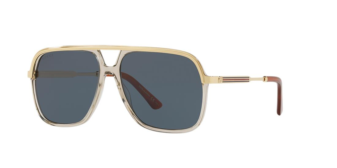 Gucci Unisex  GG0200S -  Frame color: Brown, Lens color: Blue, Size 57-14/145