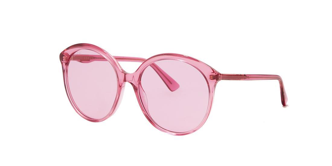 0388ecc4ab14 Gucci Gg0257S Specialized Fit Round-Frame Transparent Fuchsia Acetate  Sunglasses