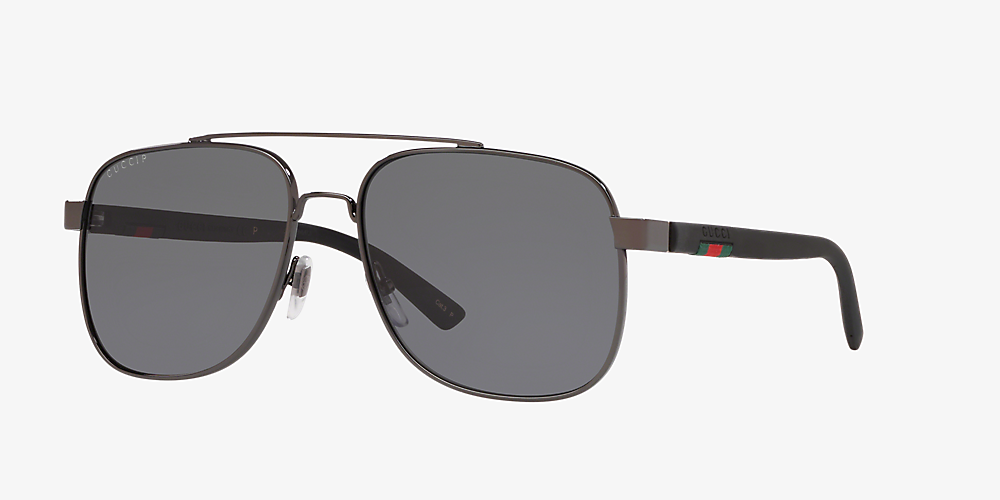 d1f4ee936f3d Gucci Gg0422s 60 Grey-Black & Silver Polarized Sunglasses | Sunglass ...