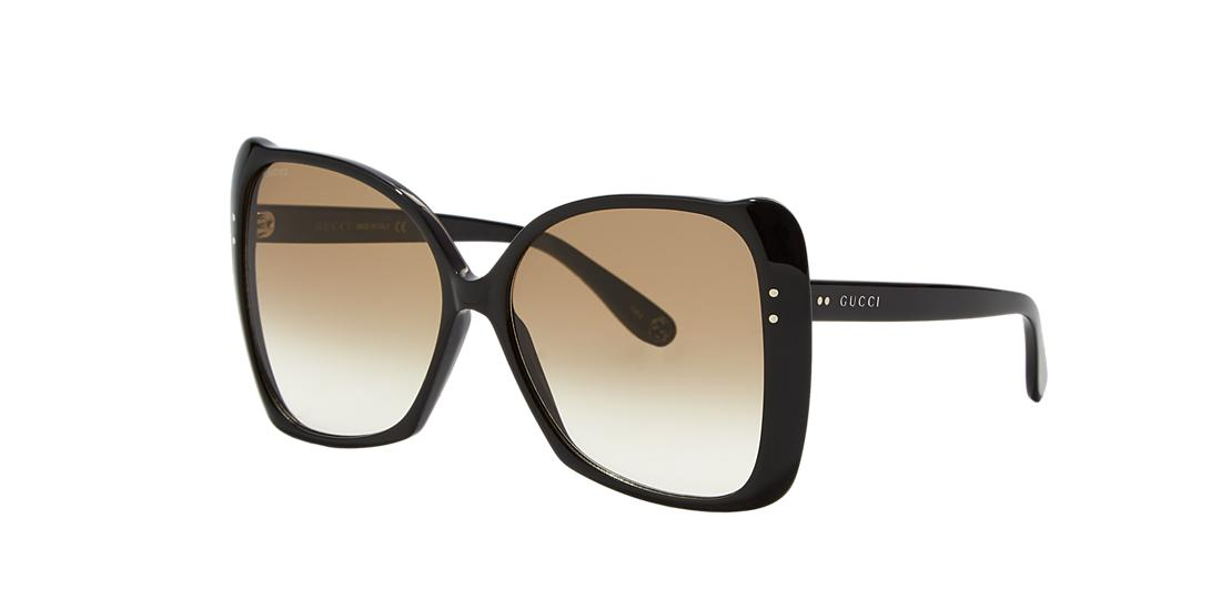 9caf0040da6 Gucci 62Mm Oversize Butterfly Sunglasses - Shiny Black  Brown Gradient In Black  Shiny Brown