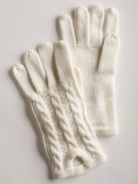 Creme De Cashmere Cable Gloves