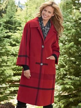 Long Engineered Plaid Coat