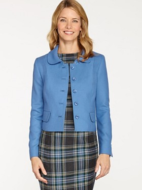Worsted Wool Flannel Cropped Jacket