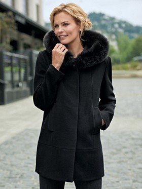 Fox Fur-trim Hooded Coat