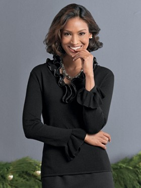 Satin-trim Ruffle Sweater