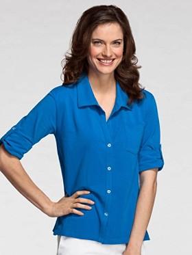 Roll-sleeve Jersey Knit Shirt