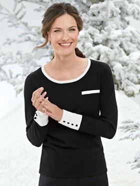 Contrast Button Jewel-neck Sweater