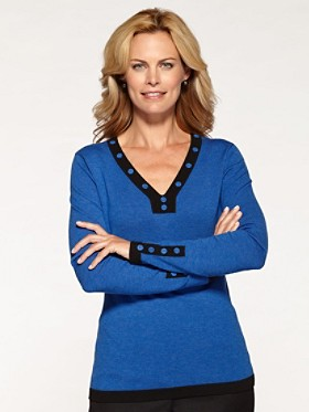 Contrast Button V-neck Sweater