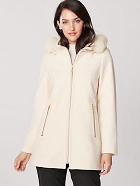 Zip Coat With Fox Fur Hood